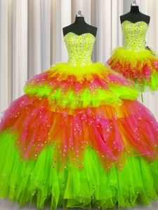 Three Piece Visible Boning Sweetheart Sleeveless Lace Up 15 Quinceanera Dress Multi-color Tulle