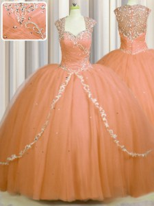 See Through Back Tulle Cap Sleeves With Train Quinceanera Dresses Brush Train and Beading and Appliques