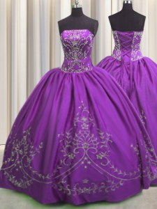 Eggplant Purple Sleeveless Floor Length Embroidery Lace Up Sweet 16 Dresses