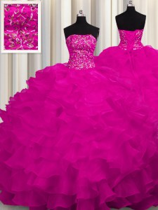 Customized Sleeveless Sweep Train Beading and Ruffles Lace Up Quinceanera Gowns