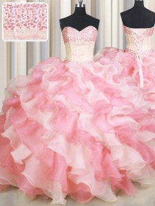 Glittering Visible Boning Two Tone Floor Length Lace Up Sweet 16 Dresses Pink And White for Military Ball and Sweet 16 and Quinceanera with Beading and Ruffles
