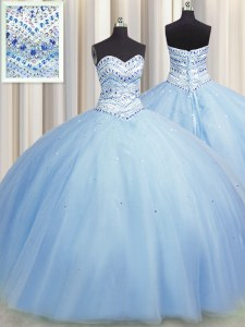 Shining Bling-bling Big Puffy Light Blue Ball Gown Prom Dress Military Ball and Sweet 16 and Quinceanera and For with Beading Sweetheart Sleeveless Lace Up