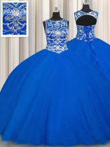 Luxurious Royal Blue Ball Gowns Tulle Scoop Sleeveless Beading Floor Length Lace Up 15 Quinceanera Dress
