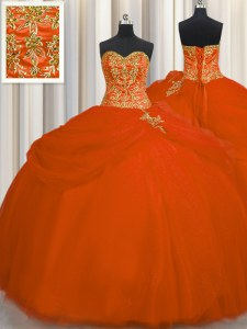 Enchanting Floor Length Orange Red Sweet 16 Dress Tulle Sleeveless Beading