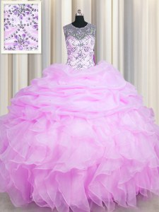 See Through Lilac Ball Gowns Organza Scoop Sleeveless Beading and Ruffles and Pick Ups Floor Length Lace Up Sweet 16 Dresses