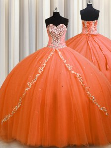 Nice Orange Quince Ball Gowns Sweetheart Sleeveless Brush Train Lace Up