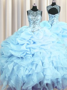 Stunning Scoop See Through Floor Length Light Blue Sweet 16 Quinceanera Dress Organza Sleeveless Beading and Ruffles and Pick Ups