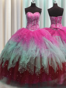 Ideal Visible Boning Multi-color Tulle Lace Up Quinceanera Gowns Sleeveless Floor Length Beading and Ruffles and Sequins