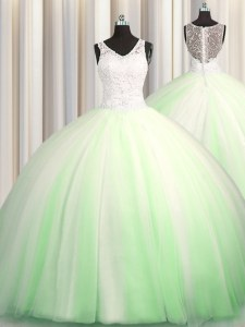 See Through Zipple Up Tulle Zipper V-neck Sleeveless Sweet 16 Quinceanera Dress Brush Train Beading and Appliques