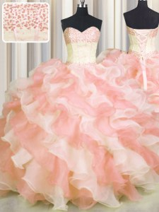 Artistic Visible Boning Two Tone Multi-color Sweetheart Lace Up Beading and Ruffles Quince Ball Gowns Sleeveless