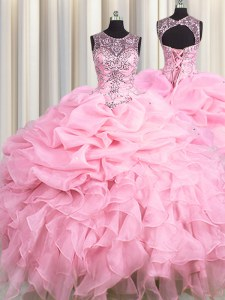 Modern See Through Scoop Sleeveless Organza Ball Gown Prom Dress Beading and Ruffles and Pick Ups Lace Up