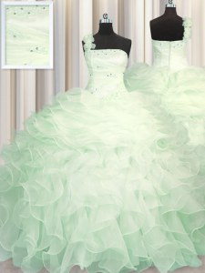 Nice Apple Green Sweet 16 Dresses Military Ball and Sweet 16 and Quinceanera and For with Beading and Ruffles One Shoulder Sleeveless Zipper