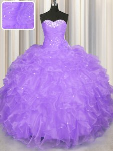 Ball Gowns Quinceanera Dress Lavender Sweetheart Organza Sleeveless Floor Length Lace Up