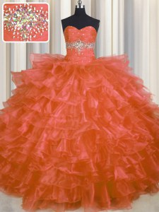 Ruffled Layers Sweetheart Sleeveless Lace Up Sweet 16 Quinceanera Dress Orange Red Organza