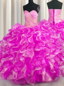 Flirting Floor Length Ball Gowns Sleeveless Rose Pink 15th Birthday Dress Lace Up