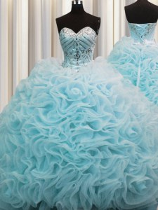 Hot Selling Rolling Flowers Lace Up Quinceanera Gowns Aqua Blue for Military Ball and Sweet 16 and Quinceanera with Beading and Pick Ups Brush Train