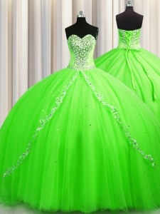 Inexpensive Sleeveless Tulle Brush Train Lace Up Sweet 16 Dress for Military Ball and Sweet 16 and Quinceanera