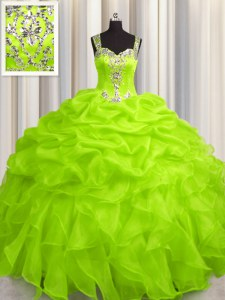 See Through Zipper Up Organza Straps Sleeveless Zipper Appliques and Ruffles Quince Ball Gowns in