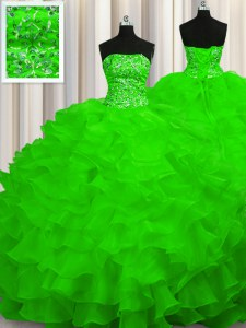 Sleeveless Beading and Ruffles Lace Up Quinceanera Dress with Sweep Train