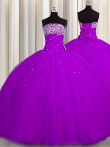 Really Puffy Floor Length Ball Gowns Sleeveless Purple 15th Birthday Dress Lace Up