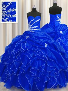 Modest Royal Blue Ball Gowns Beading and Appliques and Ruffles Quinceanera Dresses Lace Up Organza Sleeveless Floor Length
