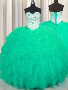 Turquoise Lace Up Sweetheart Beading and Ruffles Quinceanera Dresses Tulle Sleeveless