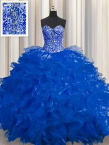 Best Selling See Through Royal Blue Lace Up Quinceanera Gowns Beading and Ruffles Sleeveless Floor Length