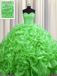 Sleeveless Court Train Lace Up With Train Beading and Pick Ups Quinceanera Gowns