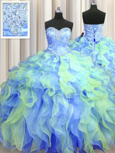 Cute Multi-color Lace Up Ball Gown Prom Dress Beading and Appliques and Ruffles Sleeveless Floor Length