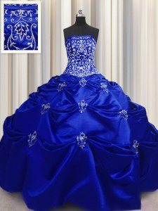 Smart Embroidery Floor Length Ball Gowns Sleeveless Royal Blue Sweet 16 Dress Lace Up