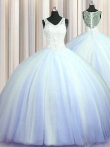 See Through Zipper Up Light Blue Ball Gowns V-neck Sleeveless Tulle With Brush Train Zipper Beading and Appliques Sweet 16 Dresses