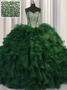 Artistic Visible Boning Bling-bling Green Quince Ball Gowns Military Ball and Sweet 16 and Quinceanera and For with Beading Sweetheart Sleeveless Brush Train Lace Up
