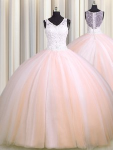 Pretty See Through Back Zipple Up Sleeveless Brush Train Beading and Appliques Zipper Quinceanera Dress