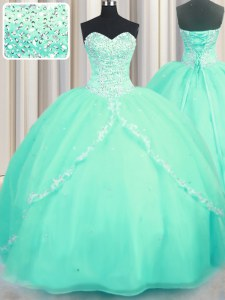 Great Sleeveless With Train Beading and Appliques Lace Up Quinceanera Gown with Turquoise Brush Train
