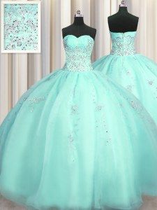 Colorful Really Puffy Ball Gowns Quinceanera Gowns Turquoise Sweetheart Organza Sleeveless Floor Length Zipper