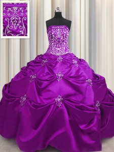 Spectacular Eggplant Purple Taffeta Lace Up Quinceanera Gowns Sleeveless Floor Length Beading and Appliques and Embroidery