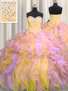 Multi-color Ball Gown Prom Dress Military Ball and Sweet 16 and Quinceanera and For with Beading and Appliques and Ruffles Sweetheart Sleeveless Lace Up