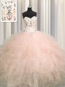 Visible Boning Sleeveless Floor Length Beading and Appliques and Ruffles Lace Up Quinceanera Gown with Pink