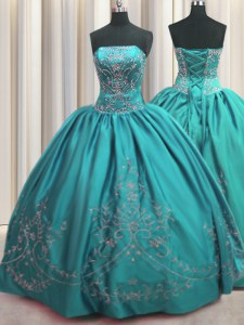 Best Selling Teal Lace Up Sweet 16 Dresses Beading and Embroidery Sleeveless Floor Length