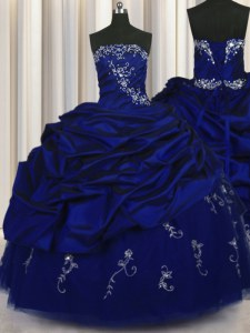 Elegant Pick Ups Embroidery Floor Length Royal Blue Quinceanera Gowns Strapless Sleeveless Lace Up