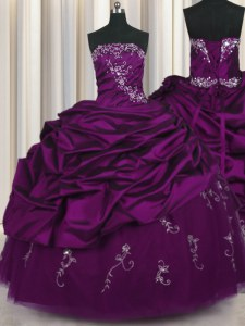 Excellent Strapless Sleeveless Taffeta Quinceanera Gowns Beading and Embroidery and Pick Ups Lace Up