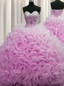 High Quality Rolling Flowers Ball Gowns Sleeveless Lilac Quince Ball Gowns Brush Train Lace Up