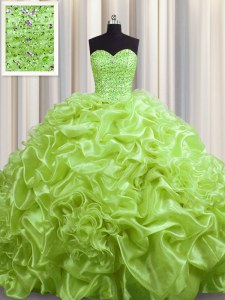 Yellow Green Quince Ball Gowns Military Ball and Sweet 16 and Quinceanera and For with Beading and Pick Ups Sweetheart Sleeveless Court Train Lace Up