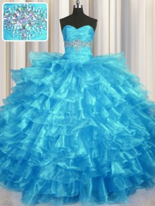 Best Selling Baby Blue Organza Lace Up Sweetheart Sleeveless Floor Length 15 Quinceanera Dress Beading and Ruffled Layers