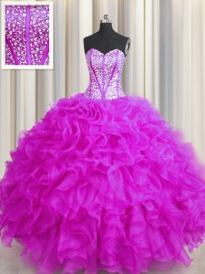 Discount Visible Boning Beaded Bodice Sleeveless Lace Up Floor Length Beading and Ruffles Ball Gown Prom Dress