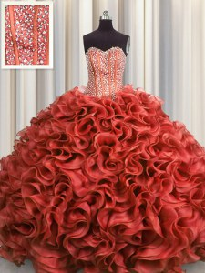 Pretty Visible Boning Rust Red Organza Lace Up Sweetheart Sleeveless Floor Length Sweet 16 Quinceanera Dress Beading and Ruffles