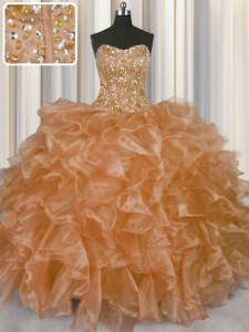 Flare Visible Boning Champagne Organza Lace Up Strapless Sleeveless Floor Length Quinceanera Dresses Beading and Ruffles