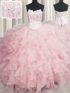 Captivating Visible Boning Baby Pink Ball Gowns Organza Scalloped Sleeveless Beading and Ruffles Floor Length Lace Up Vestidos de Quinceanera