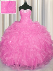 Rose Pink Ball Gowns Sweetheart Sleeveless Organza Floor Length Lace Up Beading and Ruffles Sweet 16 Dresses