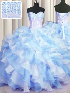 Glamorous Two Tone Visible Boning Blue And White Sweetheart Neckline Beading and Ruffles Vestidos de Quinceanera Sleeveless Lace Up